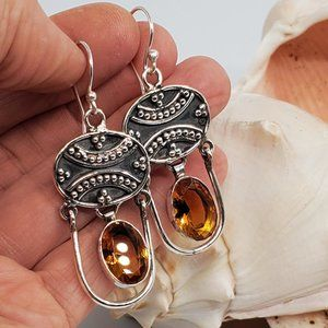 Natural Citrine Silver Earrings